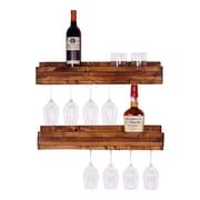DelHutsonDesigns Luxe 5 Bottle Wall Mounted Wine Glass Rack (Set of 2); Walnut