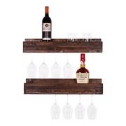 DelHutsonDesigns Luxe 5 Bottle Wall Mounted Wine Glass Rack (Set of 2); Dark Walnut