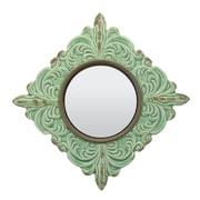 CKK Home D cor, LP Parisian Worn Ceramic Distressed Wall Mirror in Turquoise