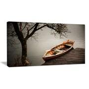 DesignArt Designart 'Little Rowing Boat Ferry' Boat Wall Artwork on Canvas; 12'' H x 20'' W x 1'' D