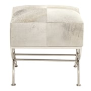 Cole & Grey Stainless Steel and Wood Hide Stool