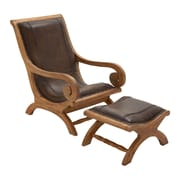 Cole & Grey Wood Lounge Chair and Ottoman