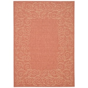 August Grove Laurel Rust / Sand Outdoor Rug; Square 6'7''
