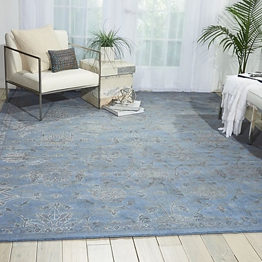 Nourison Silk Infusion Damask Gray Area Rug; 7'9'' x 9'9''