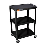 Offex Adjustable Height Steel 3 Shelves AV Cart; Black