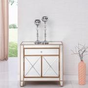 Elegant Lighting Contempo 1 Drawer 2 Door Accent Cabinet; Silver