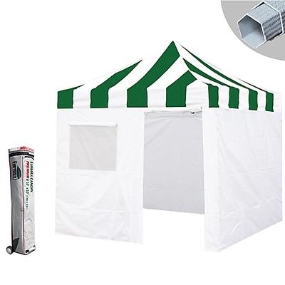 Eurmax Premium 10 Ft. W x 10 Ft. D Canopy w/ Zipper Walls; Green/White WYF078280201597