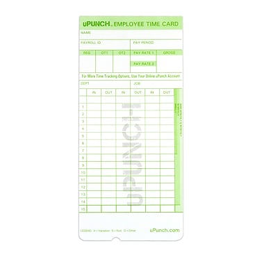 uPunch HNTC1100 Time Cards, 100/Pack
