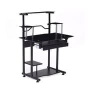 Hodedah 34'' Rectangular Glass Modern Computer Desk, Black (HIS210 BLACK)