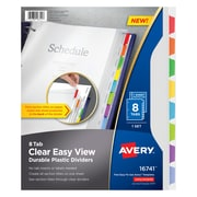 Avery Clear Easy View Durable Plastic Dividers 16741, 8 Tabs