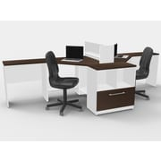 TeamCENTERoffice Triangular Corner 6 Piece L-Shaped Desk Office Suite