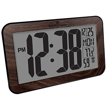 Marathon Atomic Self-Setting/Adjusting Wall Clock with Stand & 8 Timezones, Wood (CL030033WD)