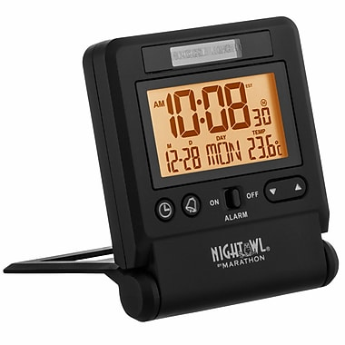 Marathon Atomic Travel Alarm Clock with Auto Night Light Feature, Black (CL030036BK)