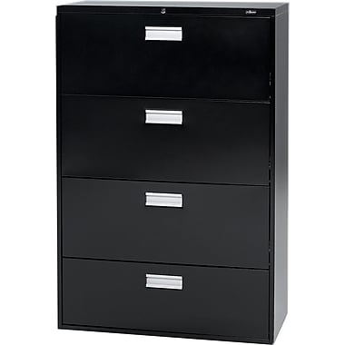 Staples® Lateral File Cabinet, 4-Drawer, Black