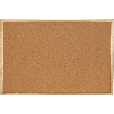 Staples® Economy Bulletin Board with Oak Frame, 24