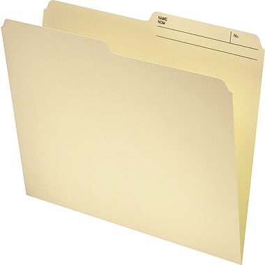 Staples® Recycled File Folder, 1/2-Cut, Letter Size, 11 pt., Manila, 100/Pack
