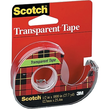 Scotch™ Transparent Tape with Dispenser, 12.7 mm x 32.9 m