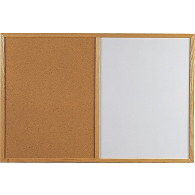 Quartet® Bulletin and Dry-Erase Combination Board, Oak Frame, 36