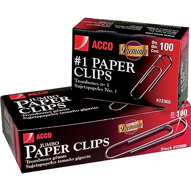 Acco® Premium Quality #1 Size Paper Clips, Smooth