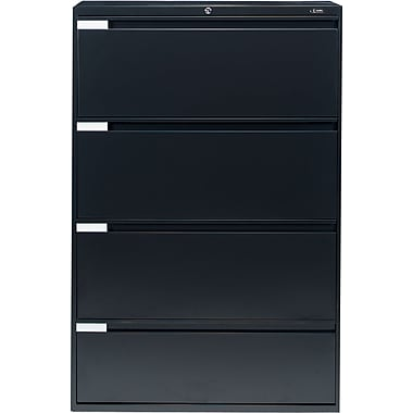 Global® 9100 Plus Series Lateral File Cabinet, 4-Drawer, Black