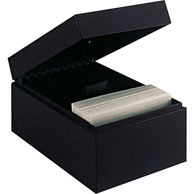 MMF Industries™ STEELMASTER® Card File Box With Block, Black, 900 Capacity, 4