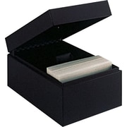 "MMF Industries™ STEELMASTER® Card File Box With Block, Black, 900 Capacity, 4""H x 5 1/2""W x 8 1/2""D"