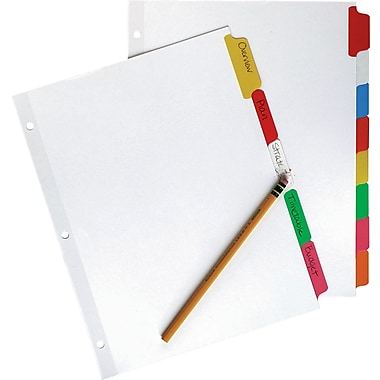 Staples® Write-On™ BIG TAB Dividers, 5-Tab Set, Color Tabs, 4/Pack