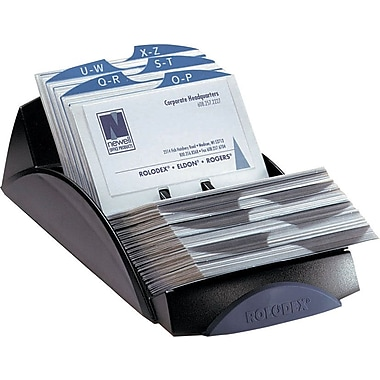Rolodex Open Business Card Tray File, Black, 2 5/8 x 4