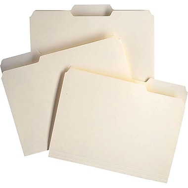 Staples 100% Recycled Manila File Folders, Letter, 3 Tab, 100/Box