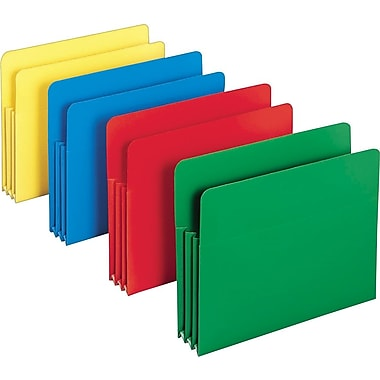 Smead® Poly Expanding File Pockets, Letter, 3 1/2in. Expansion, Assorted, 4/Pack