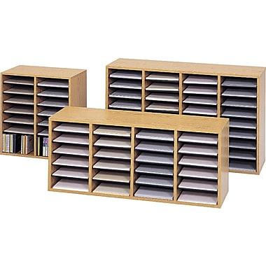 Safco® Adjustable Wood 16, 24 and 36 Compartment Literature Organizers