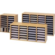 Safco® Adjustable Wood Literature Organizer, 36 Compartment, 39 1/4 x 11 3/4 X 24, Oak