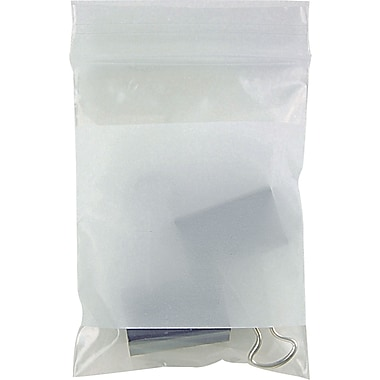 Staples White Block Recloseable 4-Mil Poly Bags, 3in. x 4in., 1000/Case