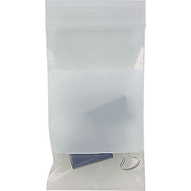 White Block Recloseable 4-Mil Poly Bags, 3in. x 5in.