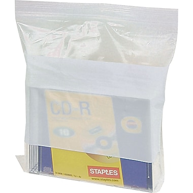 White Block Recloseable 4-Mil Poly Bags, 8in. x 10in.