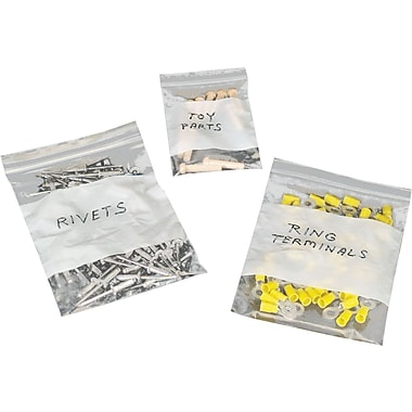 ® White Block Recloseable Poly Bags - 2 Mil Thickness