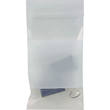 White Block Recloseable 2-Mil Poly Bags, 3in. x 5in.