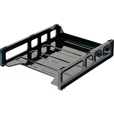 OIC Plastic Stacking Tray, Front-Loading, Letter, Black