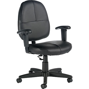 Global Leather Managers Office Chair, Adjustable Arms, Black (8993BK-450/550)