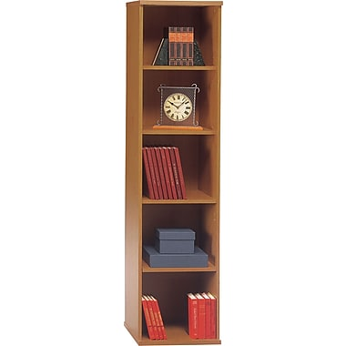 Bush Westfield 5-Shelf Space-Saver Bookcase, Natural Cherry/Graphite Gray, Fully assembled