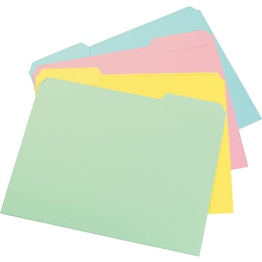 Staples® Colored File Folders, Letter, 3 Tab, Assortment C, 100/Box