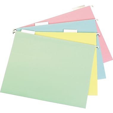 Staples® Pastel Hanging File Folders, 5-Tab, Letter, Assorted Colors, 20/Box (459686)