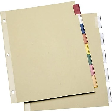 Staples Economy Insertable Dividers with Buff Paper, 8-Tab Multicolor, 6 Sets/Pack