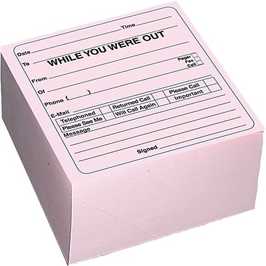 Rediform Mega in.While You Were Outin. Self-Sticking Message Pad