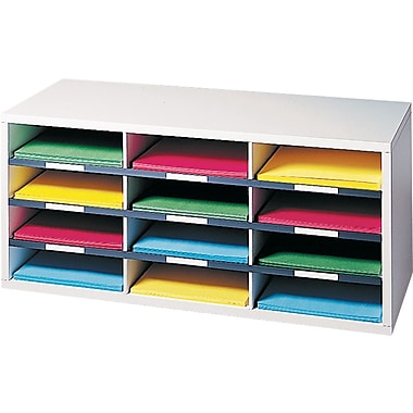 Fellowes 12 Compartment Literature Organizer, 12 15/16in.H x 29in.W x 11 7/8in.D, Dove Gray,
