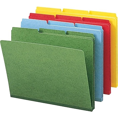 Smead® Colored Pressboard Top Tab File Folders, 3 Tab