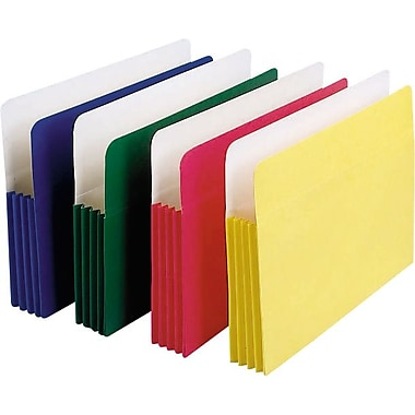 Staples Colored Expanding File Pockets, 5 1/4in. Expansion, Legal, Assorted, 5/Pack