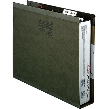 Pendaflex Box-Bottom Hanging File Folders, Letter, 3in. Capacity, Standard Green, 25/Box