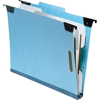 Pendaflex Hanging Files With Fasteners, 2 Partition, Letter, Light Blue, 10/Box