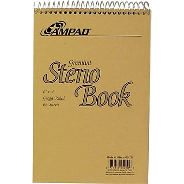 Ampad Steno Notebook, White Paper, 60 Sheets, 6in. x 9in.